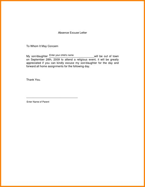 Sle Of Absence Letter For College 5 How To Write Absence Letter For School Daily Task Tracker