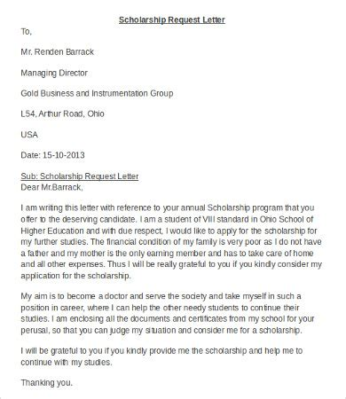 request letter for scholarship money scholarship application letter letter for scholarship