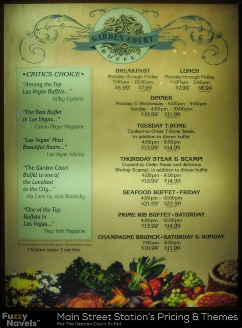 las vegas buffet menus list of costs and times for station s buffet fuzzy navels