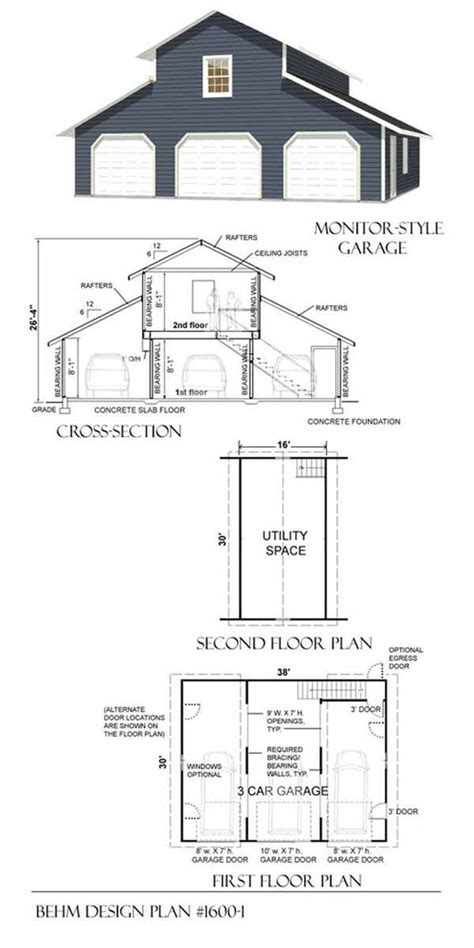 monitor style barn plans 3 car monitor garage with loft plan 1600 1 by behm design