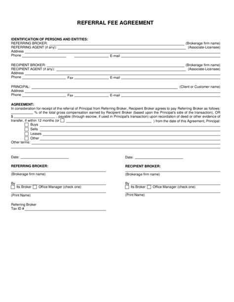 referral agreement template referral fee agreement legalforms org