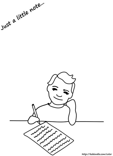 boy writing coloring page to write girl colouring pages