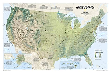 laminated map of the united states nat l geographic united states physical map laminated