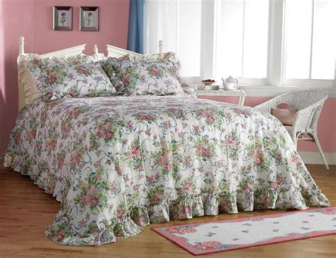 Roses Bedding Sets Pink Ribbon Plisse Flower Floral Bedspread Bed Cover Set Ebay