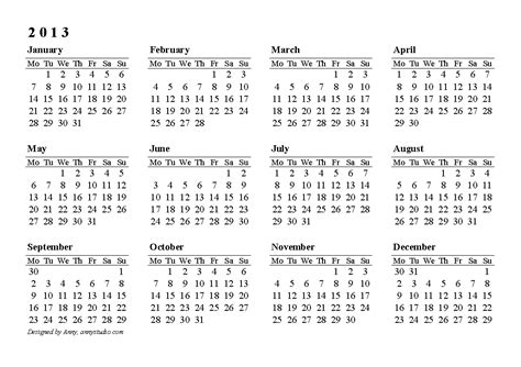 2013 Calendar Printable Pdf Free Printable Calendars And Planners 2018 2019 2020