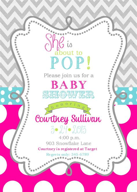 girls baby shower invitations digital or printable file ready