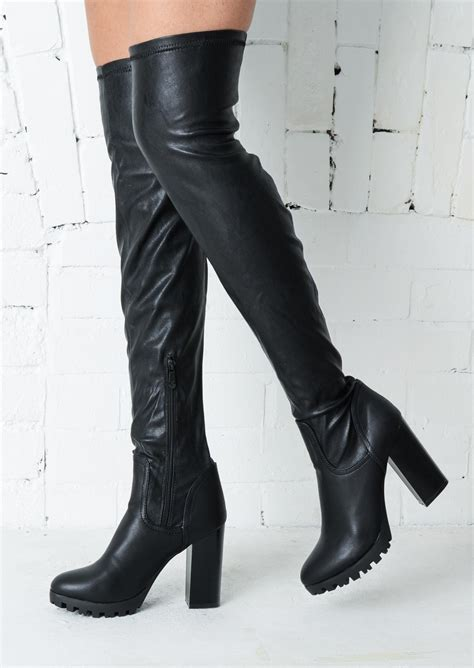faux leather thigh high boots the knee thigh high cleated sole faux leather boots black