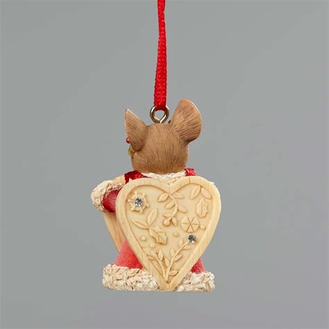 enesco heart of christmas mouse with sign ornament 4052795