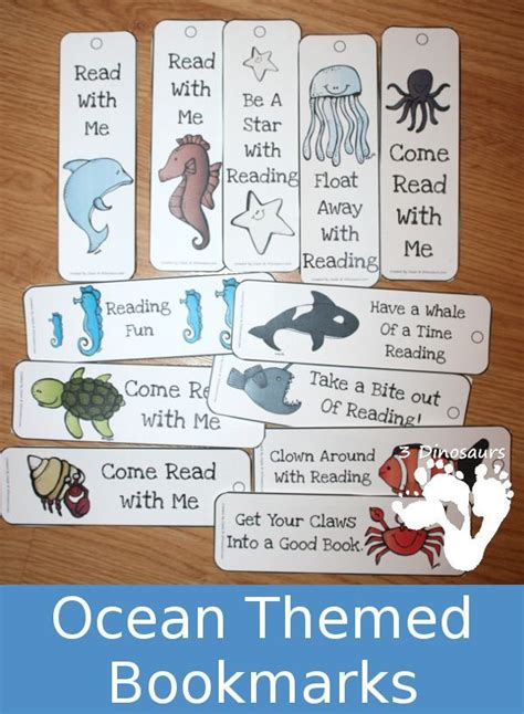 printable preschool bookmarks free ocean themed bookmarks 12 different bookmarks to