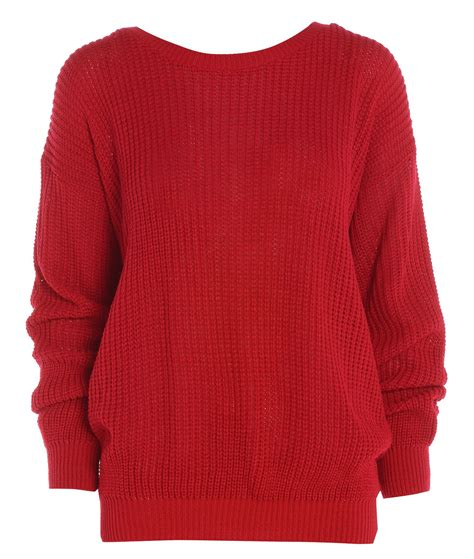 Knitted Jumper womens plain colour baggy jumper chunky sweater knitted casual top ebay