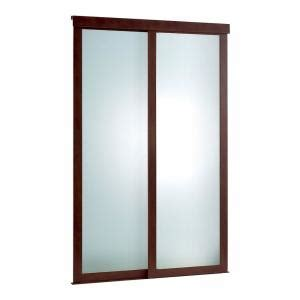 Frosted Interior Doors Home Depot Pinecroft 60 In X 80 In Frosted Glass Fusion Frosted Choco Frame Aluminum Sliding Door