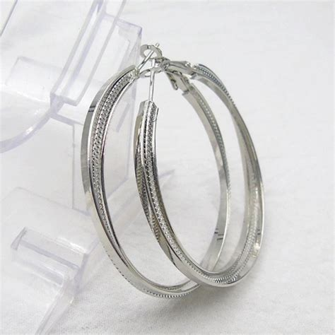 Circle Metal Earrings wholesale metal alloy circle hoop earrings silver