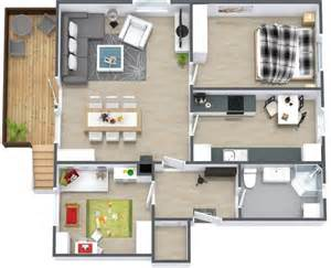 50 plans 3d d appartement avec 2 chambres