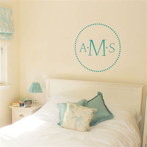 monogrammed wall stickers dots three letter monogram wall decals