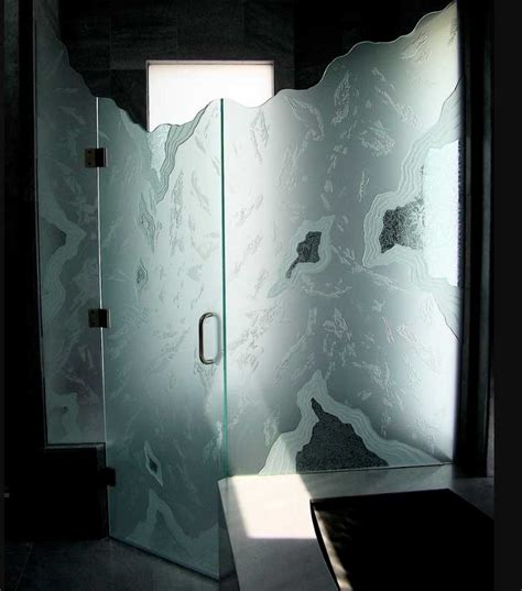 Etched Glass Shower Door Designs Etched Bathroom Glass Shower Doors With Unique Design Home Interior Exterior