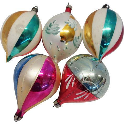 5 large poland teardrop glass christmas ornaments