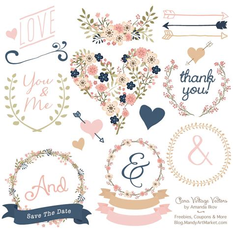 Wedding Food Clipart by Premium Floral Clip Vectors Navy And Blush Wedding