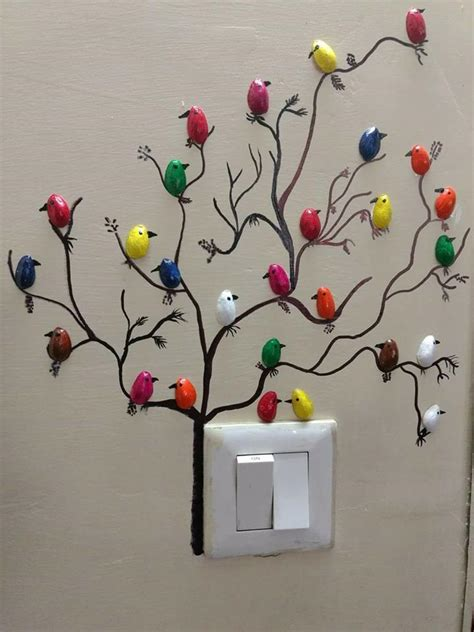 craft decoration ideas how to make pista shell bird for wall decoration simple