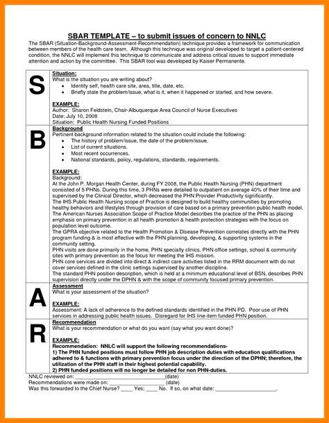 7 Sbar Nursing Report Invoice Exle Sbar Communication Tool Template
