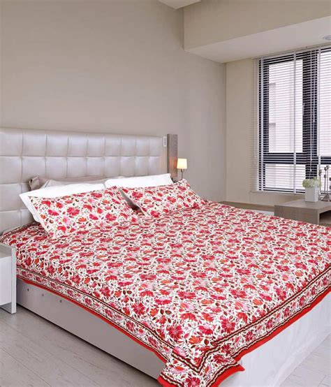 Glitter On The Mattress by Glitter Trading Floral Print Bed Sheet With 2