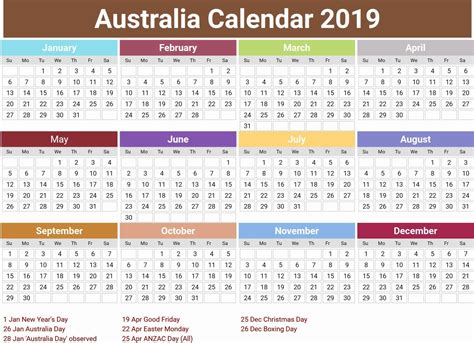 australia  calendar  holidays printable calendar template calendar template calendar
