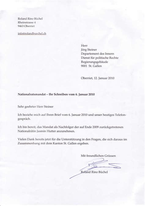 Brief In Schweiz Roland Rino B 252 Chel Nationalrat Svp News