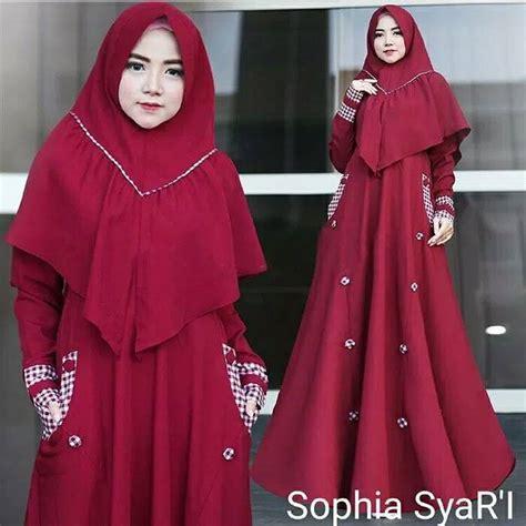 Baju Muslim Syari Maroon gamis muslim untuk acara resmi modern syari jual