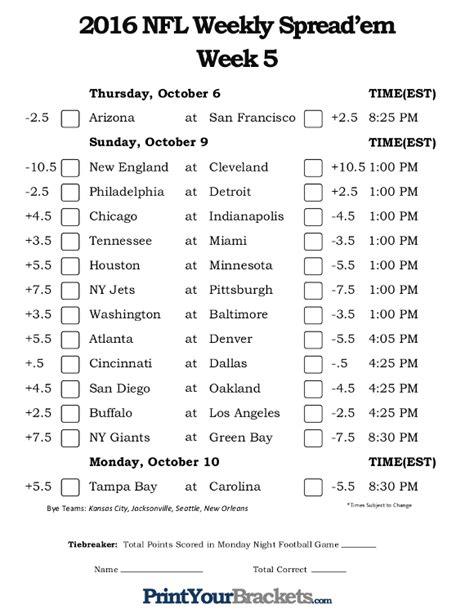printable nfl schedule for week 7 printable pick em grid autos post