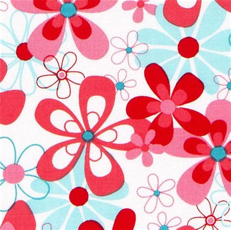 Gr Aqua Flower Pink michael miller fabric with pink and turquoise flowers flower fabric fabric kawaii shop modes4u