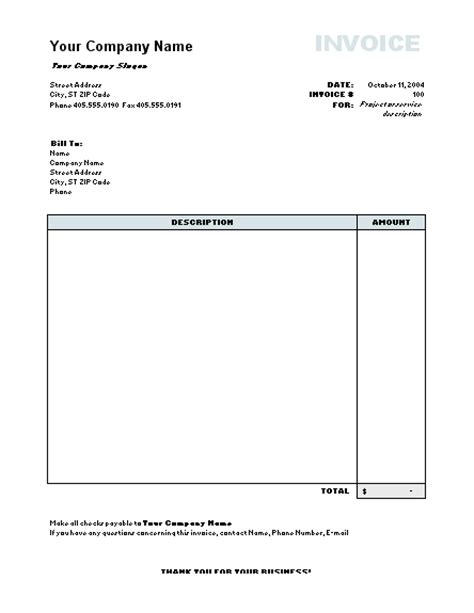 free invoice template microsoft free excel invoice templates