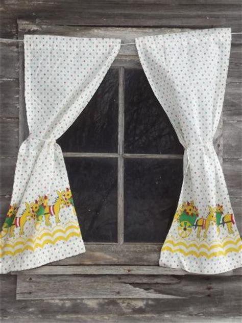vintage feed sack kitchen curtains, donkey flower cart