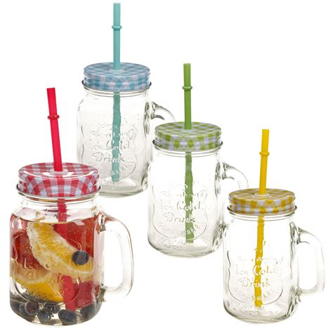 Glass Straw 500ml glass cup with handle straw glasses