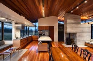 wood interior homes modern ranch style home with land loving layout and materials modern house designs