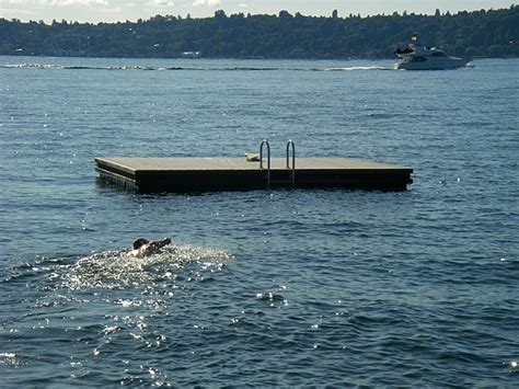 boat dock swim platform medina amazing race swimming to clue on floating swim