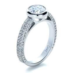 bezel set engagement ring custom bezel set and pave engagement ring 1231