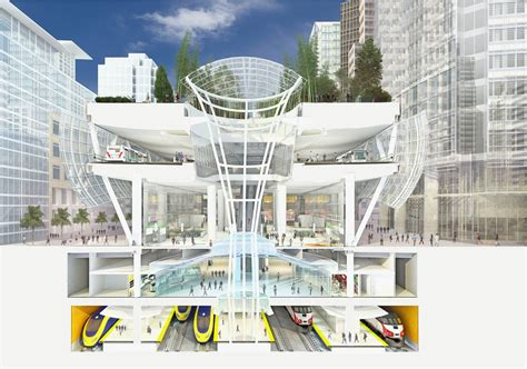 transport cross section gallery of transbay transit center in san francisco
