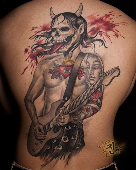 japanese hannya mask chest tattoo off the map tattoo tattoos back chest rock