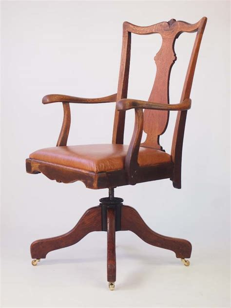 oak swivel desk chair oak and leather swivel desk chair by j s ford johnson