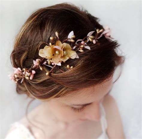 a gold sprayed flower crown wedding hairstyles photos wedding hairpiece pink and gold headband gold wedding