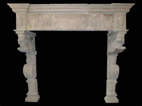 monumental antique renaissance fireplace mantel for