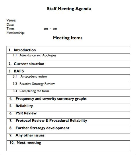 staff meeting agenda template sle staff meeting agenda 4 documents for pdf