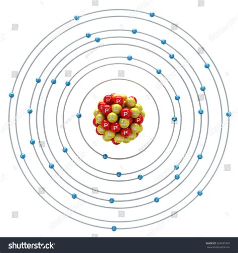 Krypton Protons by Krypton Atom On White Background Stock Illustration