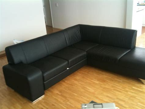 black leather l couch l shaped black leather bed sofa zurich english forum