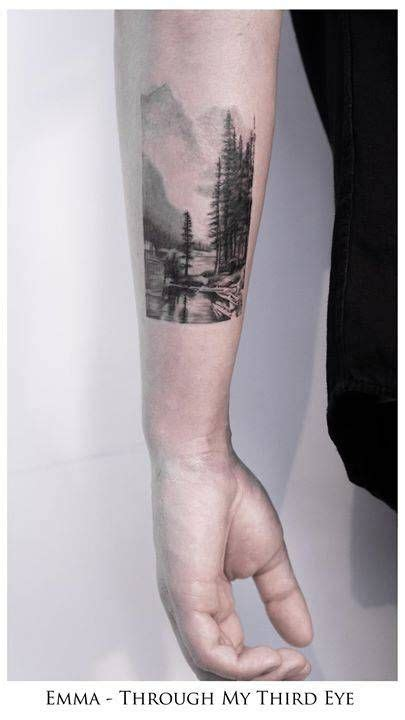 black and grey landscape tattoos black and grey landscape tattoo on daryl s left forearm