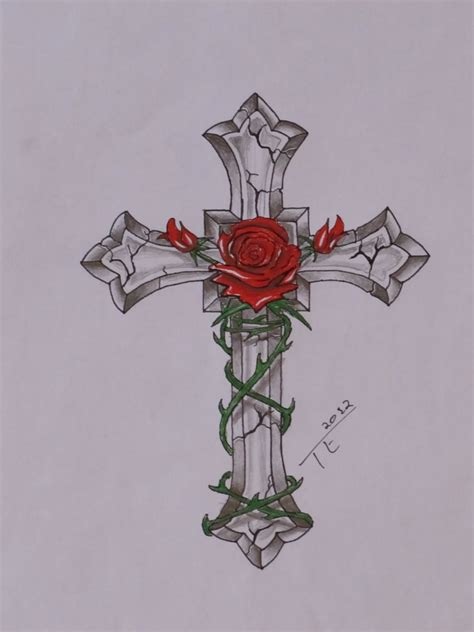 cross with roses tattoos cross images designs