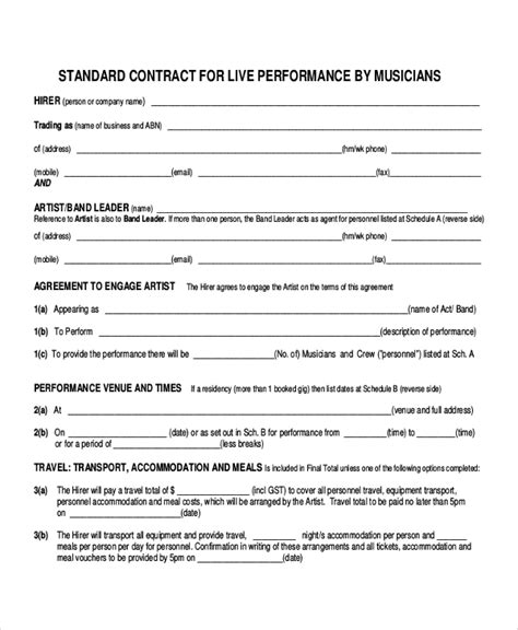 band contract template 28 contract templates free sle exle format
