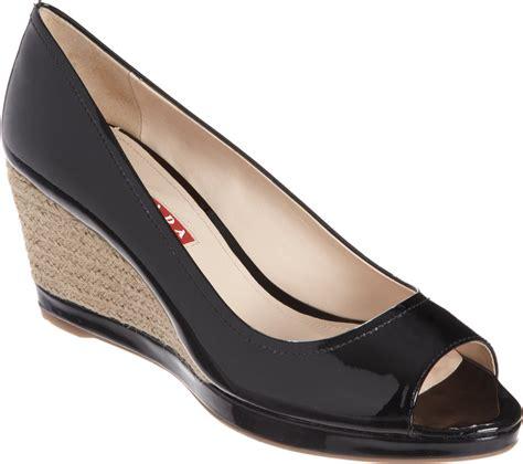 Peep Toe Wedges prada linea rossa peep toe espadrille wedge in black lyst