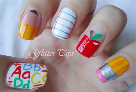 Nail Pencil1 glitter tips back to school nails