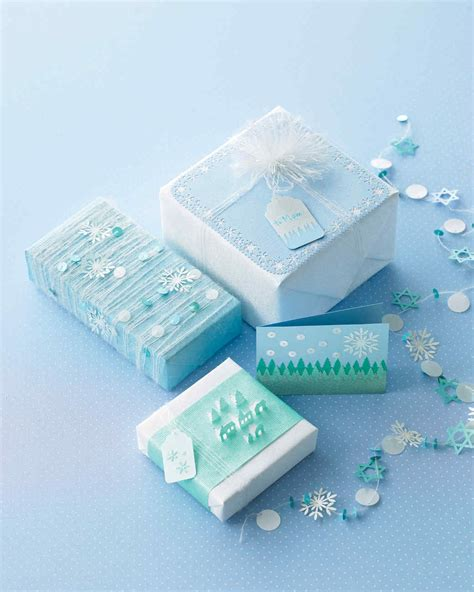 punched snowflake and tree gift wrap and tags martha stewart - Snowflake Gift Wrap