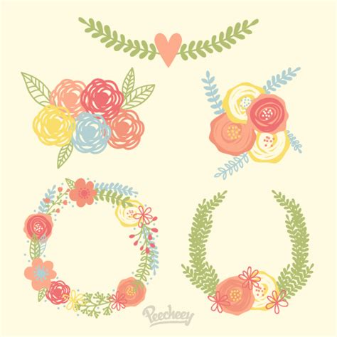 floral wreath free vector 123freevectors
